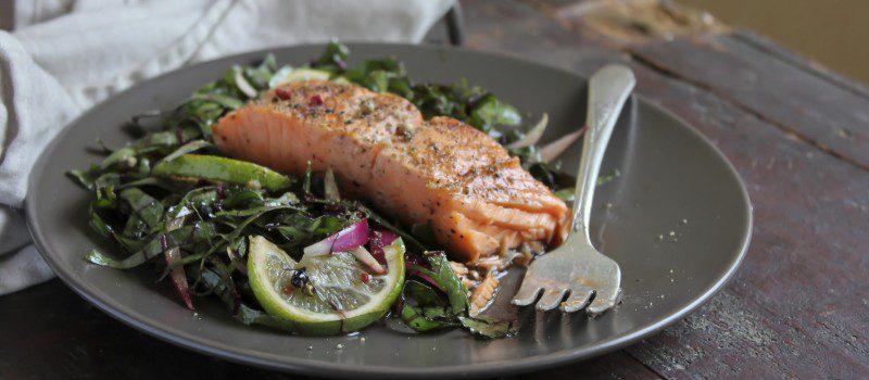 Salmon on Swiss Chard