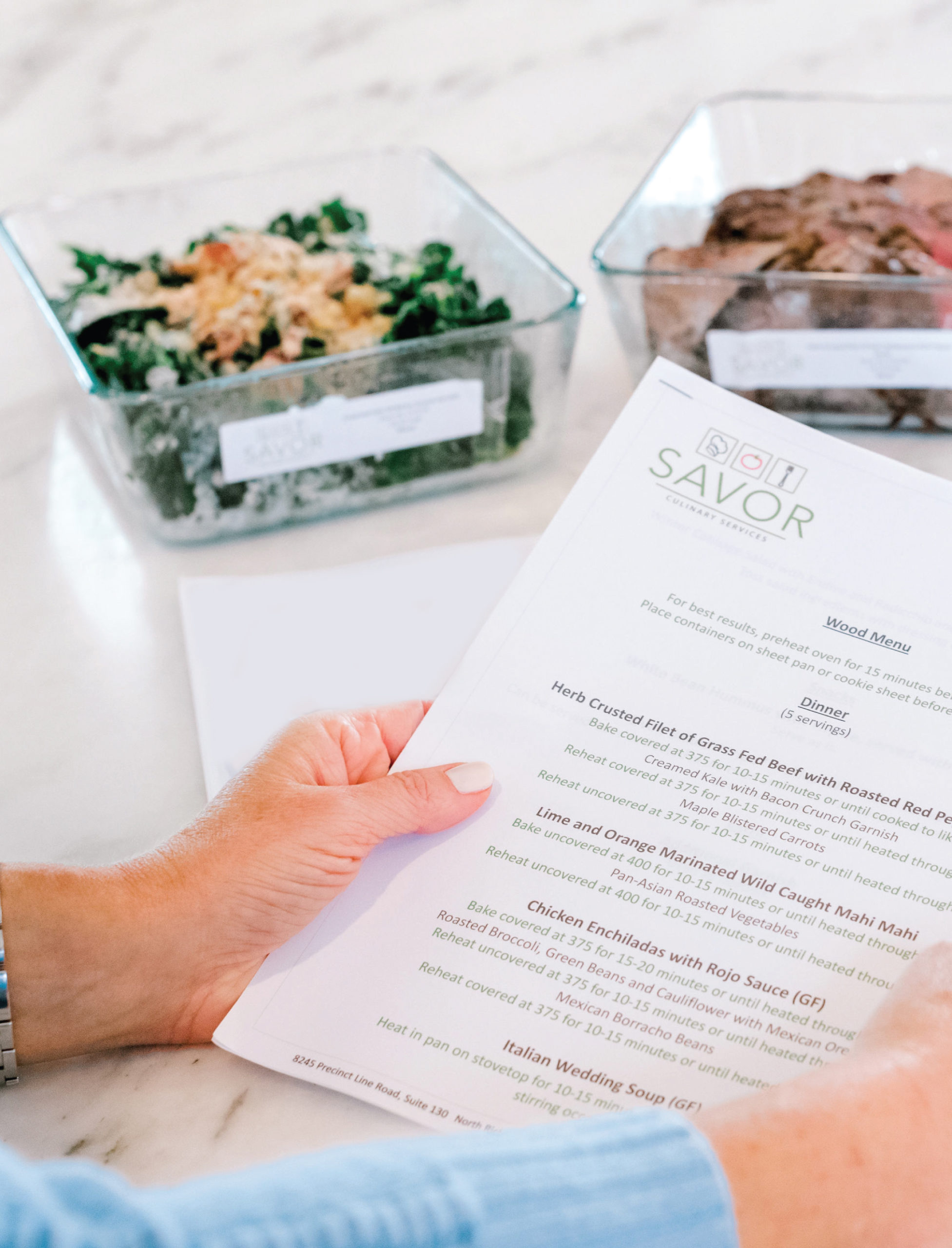 Savor-Culinary-Services-Prepared-Meal-Delivery-Fort-Worth-Texas-Woman-Holding-Menu